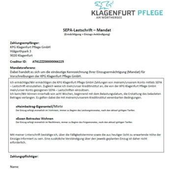 Klagenfurt Pflege Hülgerthpark Lastschriftmandat