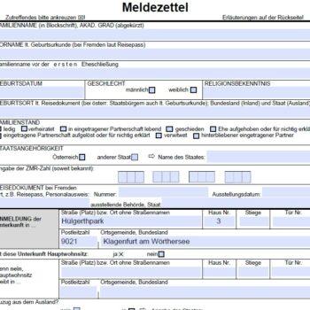 Pflege Klagenfurt Hülgerthpark Meldezettel